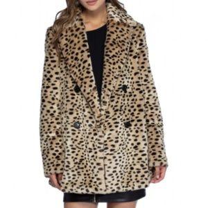 Avec Les Filles Leopard Print Car Coat